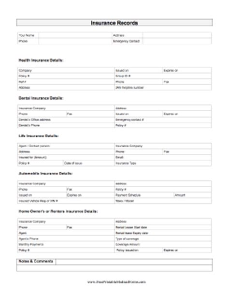 usa biography form printable insurance record