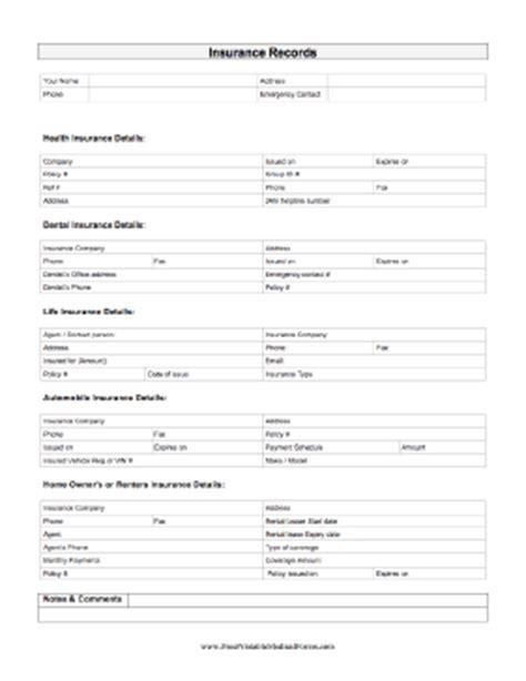 Printable Insurance Record