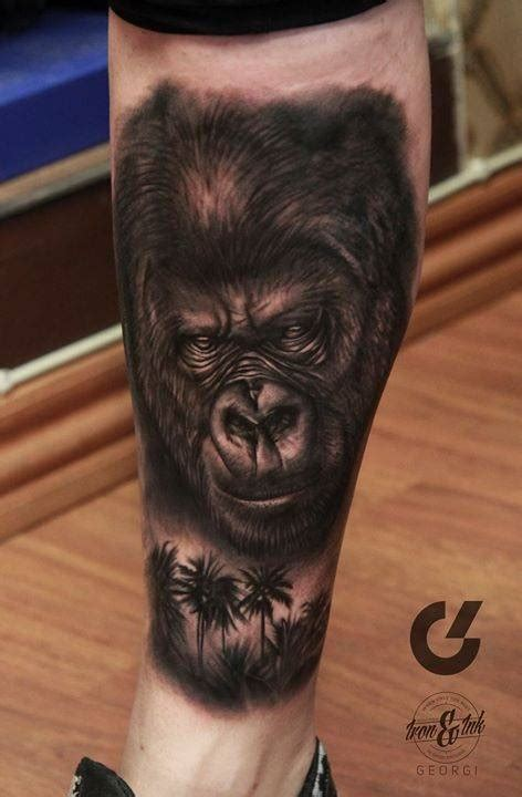 gorilla tattoos black and grey gorilla on the right lower leg