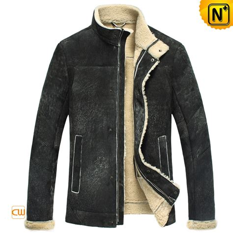 Shearling Jacket mens black shearling leather jacket cw848105