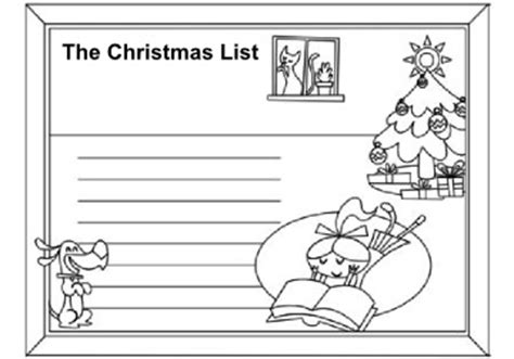 christmas list coloring page christmas activity