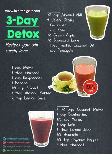 Recipes For Meals For Detox by 3 Day Detox Recipe Healthdigezt Health Diet