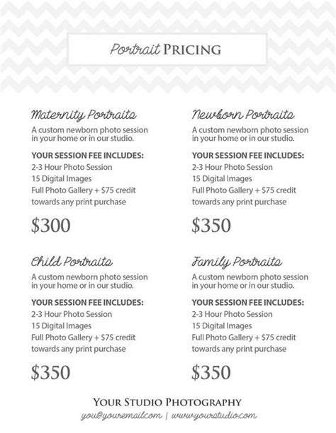 Photography Pricing by Photography Portrait Pricing Photographer Price List