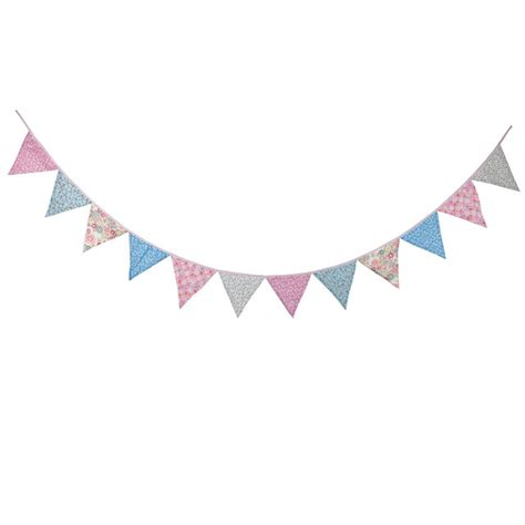 Flag Banner Anniversary Pink Dan Blue aliexpress buy new 12 flags 3 2m cotton pink blue flower fabric banners vintage bunting