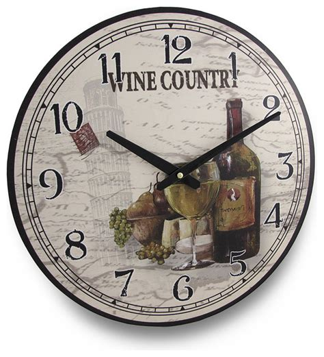 round wine country wine themed wall clock 15 in
