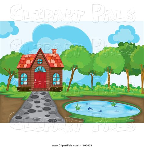 Design House Free Pal Clipart Of A Cabin And Pond With A Stone Path By