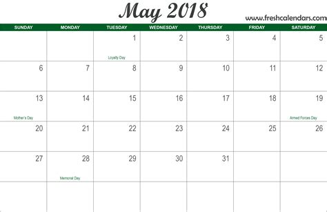 may template 2018 may printable calendar pertamini co