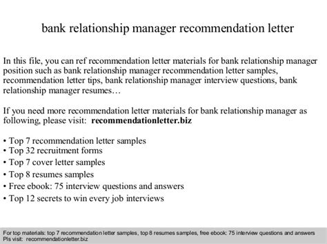 Relationship Manager Cover Letter by Bank Relationship Manager Recommendation Letter
