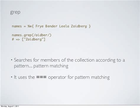 pattern matching using grep the enumerable module or how i fell in love with ruby