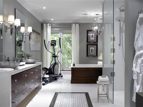 candice olson bathroom designs spa master bathroom with home gym hgtv
