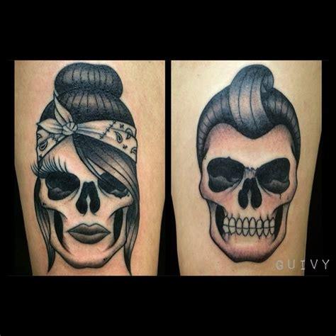 couples skull tattoos rock n roll guivy switzerland chicano