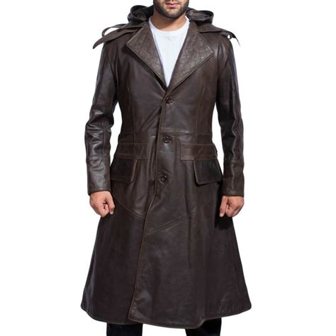 Hooded Buttoned Trench Coat hooded brown leather trench coat