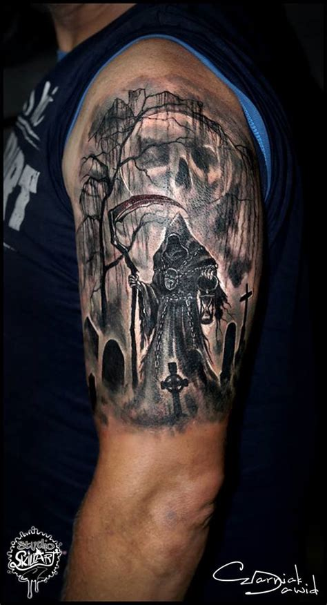 42 impressive graveyard and cemetery tattoo designs for