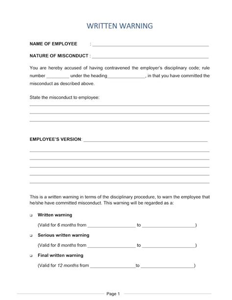 employee warning letter template south africa prahu