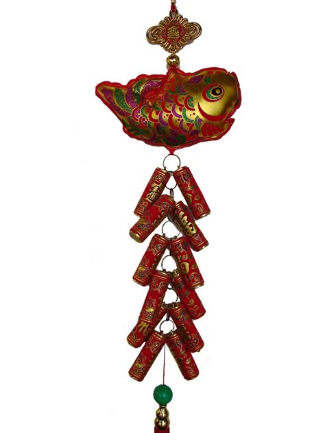 new year luck fish new year charm fish with lucky firecrackers for