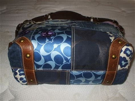 Rur20225 Tas Fashion Import Tote Lv Brown coach blue denim signature multi patchwork suede leather tote bag purse ebay