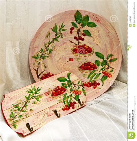 Decoupage Plate - decoupage plate and towel rail royalty free stock photo