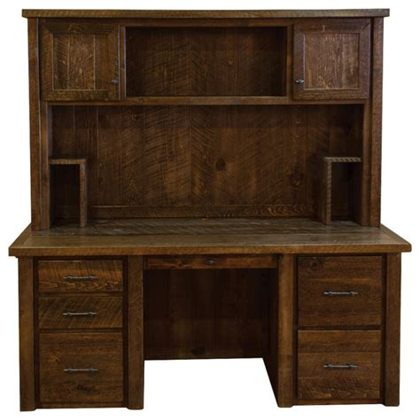 rustic desk with hutch rustic barn wood timber peg executive desk with hutch
