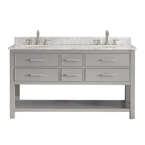 60 Inch White Vanity Avanity 60 Inch W Vanity In Chilled Grey Finish With Marble Top In White The Home Depot