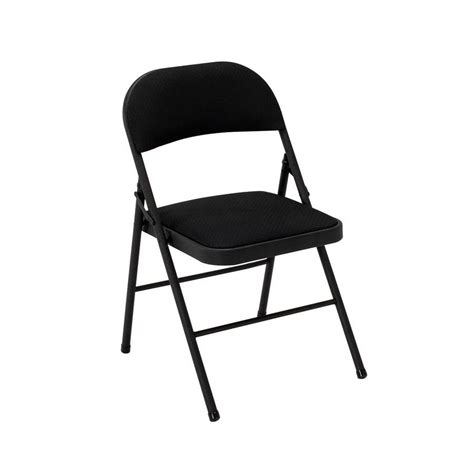 Cosco Folding Chairs Padded by Shop Cosco Set Of 4 Indoor Steel Black Fabric Padded