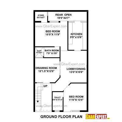 house plan for 27 by 50 plot plot size 150