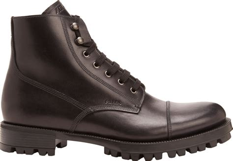 prada rugged cap toe boots in black for lyst