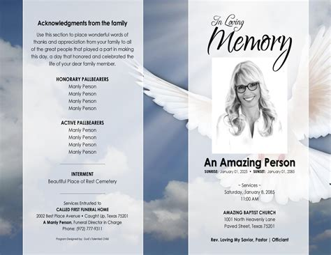 free funeral program template for microsoft word 11x17 heavenly dove printable funeral program