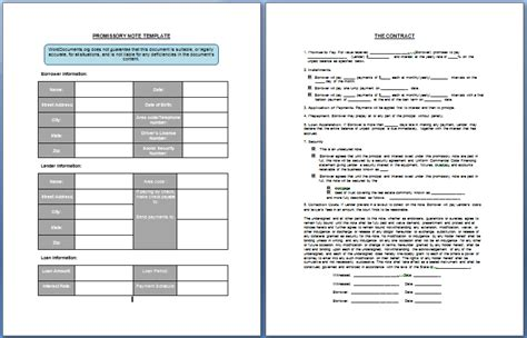 promissory note template word promissory note template format template