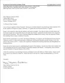 Recommendation Letter For A Student Exle References Student Teaching Teaching Portfolio