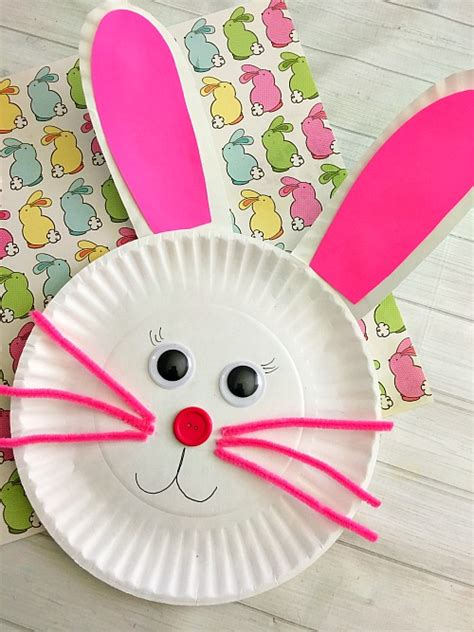 Paper Plate Bunny Craft - bunny paper plate craft for easter craft