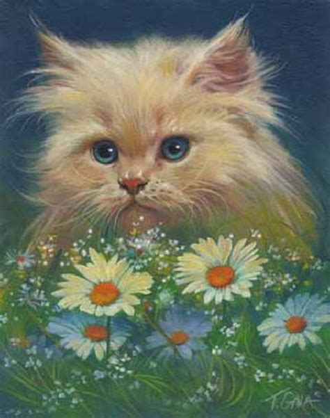 painting kitten kitten paintings kitten daisies galasinski