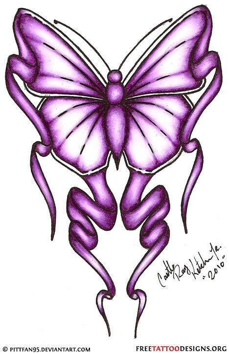 sle of tattoo design purple butterfly and ribbon idea to represent