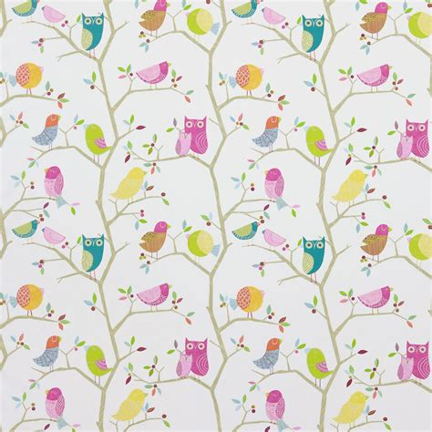 harlequin childrens curtains what a hoot fabric pink aquamarine lime natural 3224
