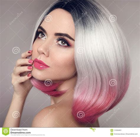 colored ombre colored ombre bob hair extensions manicure nails