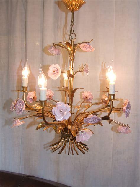 L053 Vintage French Toleware Chandelier Ceiling Light Toleware Chandelier
