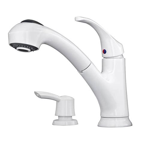 white kitchen sink faucet shop pfister shelton white 1 handle deck mount pull out kitchen faucet at lowes