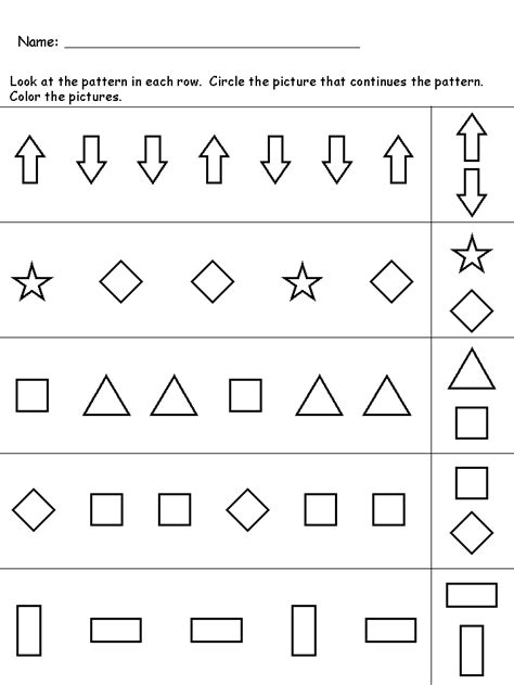 pattern recognition in mathematics kindergarten worksheets maths worksheets pattern