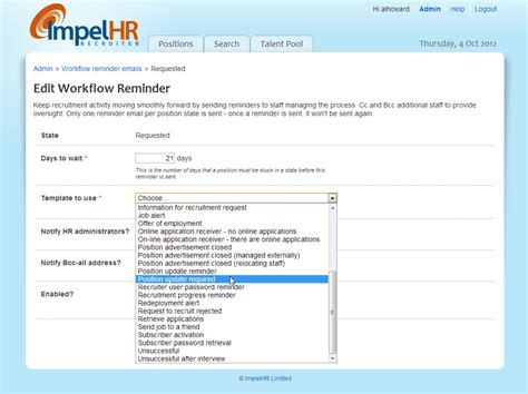 hiring email template reduce hiring time with workflow reminders impelhr recruiter