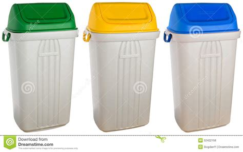 colored trash cans white plastic selective trash can stock photo image of