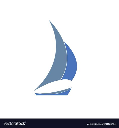 yacht logo gray blue yacht logo for sailing royalty free vector image