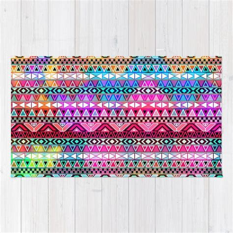 Bright Aztec Rug by Neon Aztec Purple Pink Neon Bright Andes Abstract