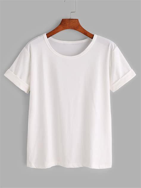 T Shirt Notre Dame White white rolled sleeve basic t shirtfor romwe