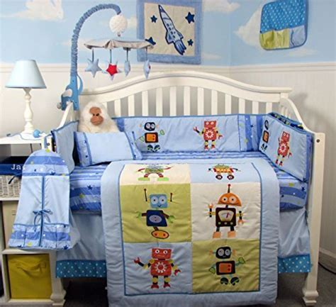 complete nursery bedding sets soho and robots complete nursery bedding set with bag plus free blue baby carrier