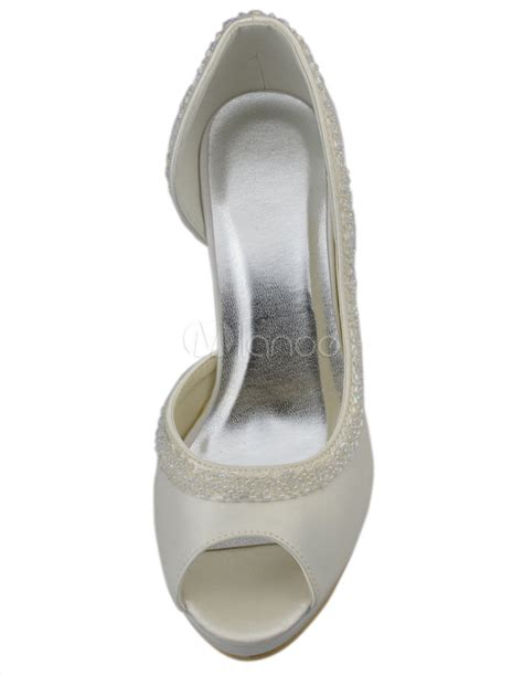 10 Prettiest Wedding Shoes by Beautiful Beige Satin 3 9 10 Quot High Heel Wedding Shoes