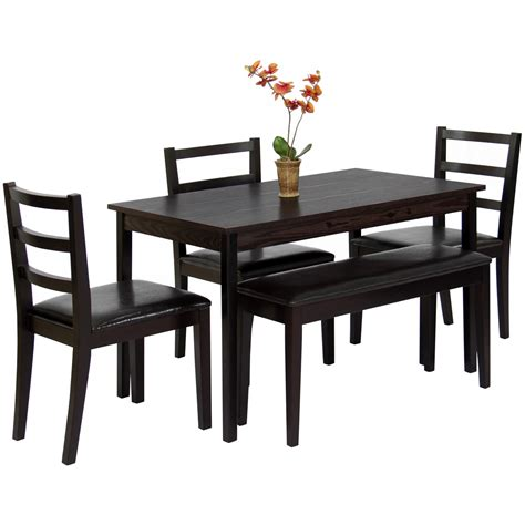 3 piece bench dining set best choice products 5 piece wood dining table set w