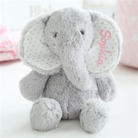 personalised grey elephant soft toy my 1st years