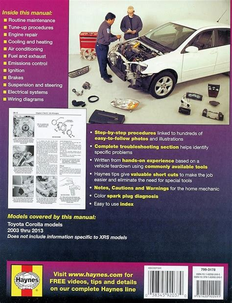 haynes toyota corolla 2003 2011 auto repair manual toyota corolla repair manual 2003 2013 haynes 92037