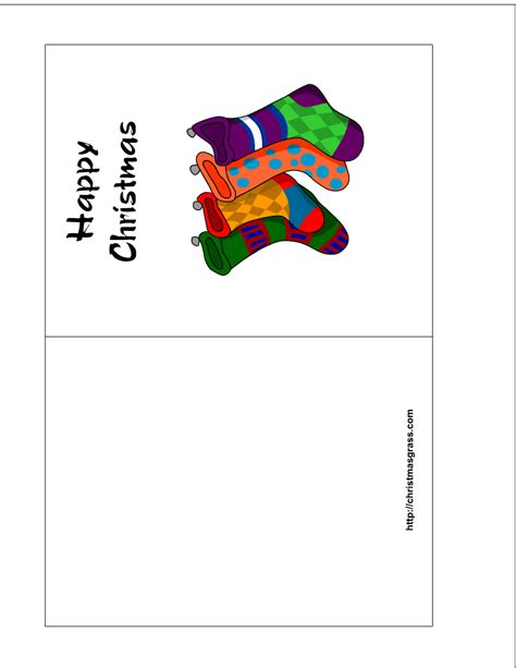 free printable holiday greeting card with stockings