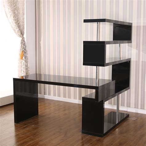 office desk with shelves homcom rotating home office corner desk and shelf combo black