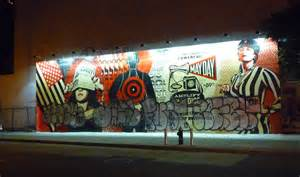Music Wall Murals taggers ruin shepard fairey s may day mural according 2 g